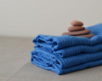 Blue Linen Towels Men Linen Towels Striped Blue Linen Bath Towels Pre washed Body Towels