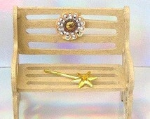 Miniature Fairy Garden Bench Fall Dollhouse Furniture Desert Sand Champagne Christmas Gold