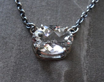 White Topaz Solitaire Pendant Necklace in Sterling Silver with Antique Finish, Sparkling White Topaz Necklace