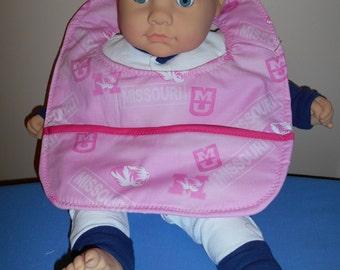 Baby Bib - Pink Mizzou - Pocket - MU - University - Missouri Sports - Football