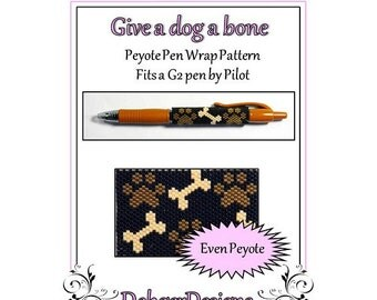 Bead Pattern Peyote(Pen Wrap/Cover)-Give a dog a bone