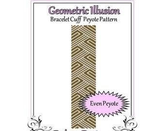Bead Pattern Peyote(Bracelet Cuff)-Geometric Illusion
