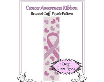 Bead Pattern Peyote(Bracelet Cuff)-Cancer Awareness Ribbon