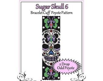 Bead Pattern Peyote(Bracelet Cuff)-Sugar Skull 6