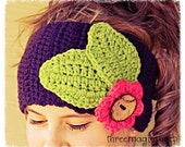 Festival Collection. Crochet boho headband headwrap earwarmer - Adult size
