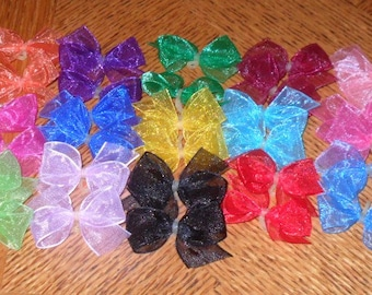 10 t0 30 Dog Hair Bows  - Organza - Choose your colors