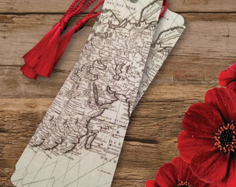 Old World Vintage Map Travel Theme Wedding or Shower Bookmark Favors