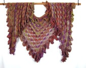 Crocheted Angel Wing Shawl, Wool Nylon Blend Yarn, Ruffled Chevron Shape, Lacy Crochet Stitch, Hand Made, Rusts, Plum, Golds, Olive Green