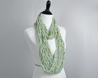 Cowl, Infinity Scarf, Crocheted, Cotton Rayon Boucle' Yarn, Celadon, Blue Green, Cool, Shiny, Elegant Wrap, Handmade Gift, Scarf, Decorative