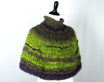 Purple, Acid Green Capelet, Hand Knit Pullover, Wool Acrylic Blend, Boucle Yarn, Soft, Handmade, Brilliant Colors, Cozy Wrap, Winter Wear