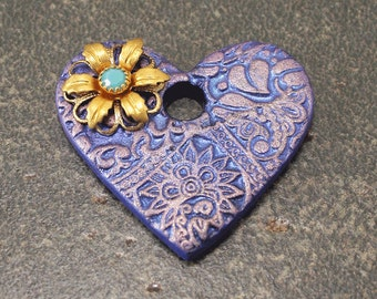 Mixed Media Heart Pendant Floral Turquoise Lavender Heart Pendant Unique Colorful Jewelry Supplies