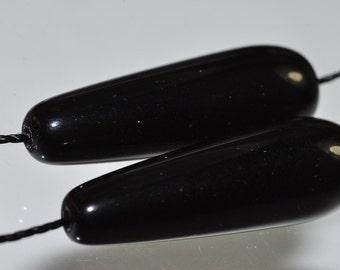 2 Pieces 30x10mm Black ONYX Long Teardrop Beads Pendants - J0901