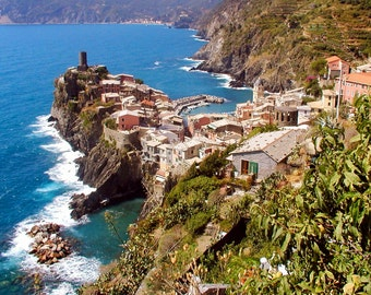 Cinque Terre Photography - Vernazza Italy Photo Italian Photography Vibrant Color Wall Art Coastal Decor Turquoise Water Travel Print