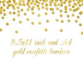 gold foil confetti digital paper jpg png border frame wedding invitation clip art clipart - A4 and 8.5x11 inch gold confetti background