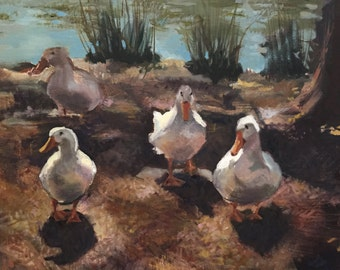 Ducks on the bank of the pond