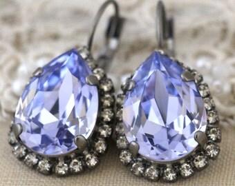 Purple earrings, Purple Swarovski earrings,Swarovski Drop earrings, Crystal Purple Wedding jewelry, Bridesmaid Lavender earrings