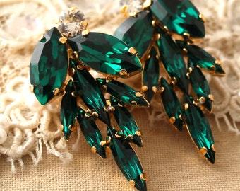 Emerald Cluster Earrings Swarovski earrings Emerald earrings Green Emerald statement Crystal earrings Bridal Emerald earrings gift for her