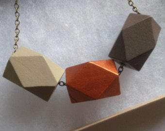 Wooden Polygon Geometric Chunky Statement Necklace