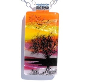Large Pendant, Dichroic, Fused Glass Pendant, Fused Glass Jewelry, Scenic, Woodland, Outdoors, Nature, Sunset, Tree, Colorful (Item 10691-P)