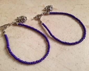 Purple Bracelet - LSU Jewelry - Tiger Charm Jewellery - College Football - Beaded