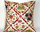 Red and Cream Jacobean Pillow Cover, 18 inch Decorative Toss Pillow, Cushion Cover