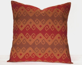 Red and Brown Southwestern Pillow, Caramel Brown Toss Pillow, 18 x 18 inch Cushion Cover