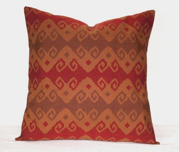 Red Southwestern Pillow : Red and Brown Southwestern Pillow Caramel Brown Toss Pillow