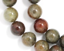 Silver Leaf Jasper (Dark Earthy Colors) Beads - 10mm Round - Full Strand