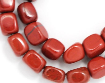 Red Jasper Beads - Small Pebbles