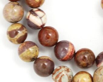 Birdseye Rhyolite Beads - 8mm Round