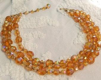 Vintage Hattie CARNEGIE Golden Amber Aurora Borealis Crystal Necklace  Signed Designer