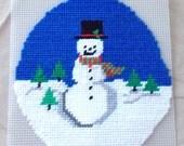 "Needlepoint - Snowman - 7"" L x 7"" W"