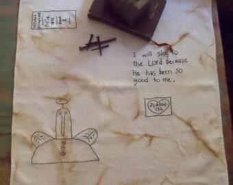 Stitchery on Vintage Linen Primitive Country