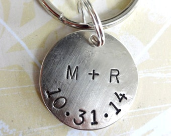 Wedding - Anniversary Hand Stamped Key Chain with Nickel Silver Disc