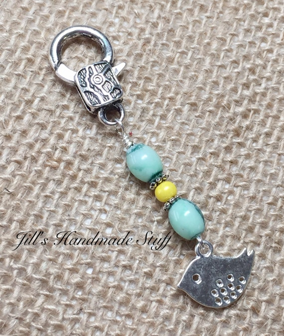 Crochet Zipper Stitch : Beaded Zipper Pull Charm- Bird Crochet Stitch Marker- Key Chain ...