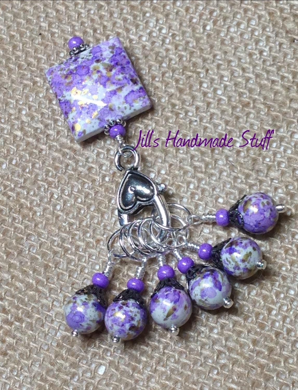 Beaded Knit Stitch Marker Pattern : Purple Knit Stitch Markers Snag Free Beaded Stitch Marker