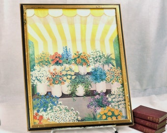 French Country Print Large  Framed Art Bright Striped Yellow Awning w/ Floral Spring Flowers Florist Street Scene Homespunsociety