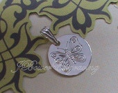 Little Bitty Butterfly - Hand Engraved 1/2 inch Sterling Silver Pendant on 18 inch chain