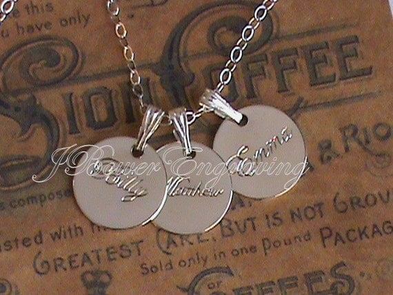 Personalized Mommy Necklace- Set Of Three Custom Name Charms Hand Engraved Personalized Mothers Day Set