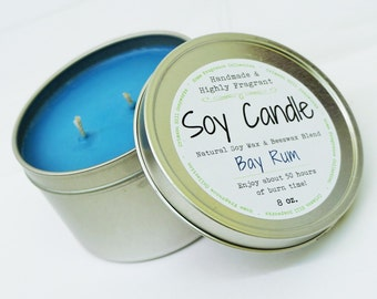 Bay Rum SOY CANDLE TIN 8 oz - Beeswax, man, masculine, spicy, natural, fragrance, home, fragrance, scented, house, gift