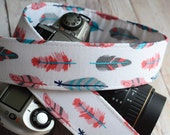 dSLR Camera Strap - White Retro Feathers- Feather Camera Strap - Nikon Camera Strap - Canon Camera Strap - Camera Accessories