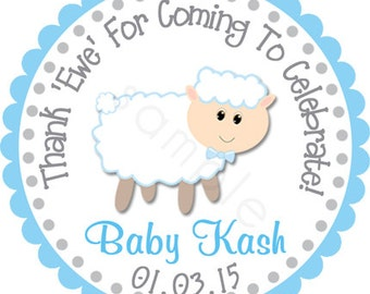 Thank Ewe Lamb Sheep Boy and Girl Colors Personalized Stickers - Baby Shower Stickers, Party Favor Labels,  Envelope Seals - Choice of Size