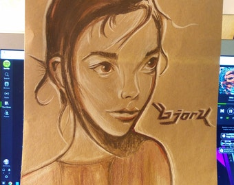 """Young Björk Portrait- 9"""" x 12""""- Colored Pencil Drawing"""