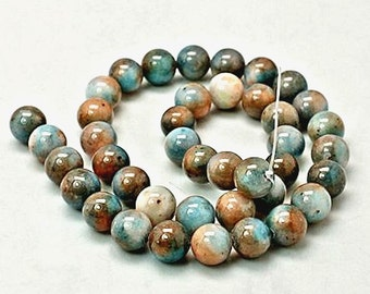 20 Jade Beads Dyed Blue and Earth tone Gemstone Beads 8mm - BD255