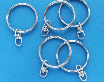 """6 Key Chain Rings Silver tone 25mm (1"""") with Attached Swivel Z66"""