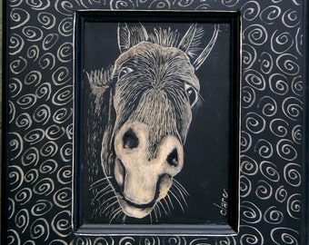 Etched Donkey framed in Swirls