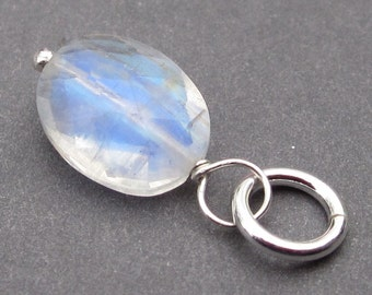 Moonstone Charm, Rainbow Moonstone Pendant, Moonstone Jewelry, Oval Moonstone, Sterling Silver Wire Wrapped Moonstone Pendant, Stones 339