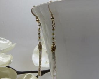 Stick Pearl Earrings, White Stick Pearls Topaz Earrings, Freshwater Pearls White Topaz Wirewrap Vermeil and 14KT Goldfill Long Earrings