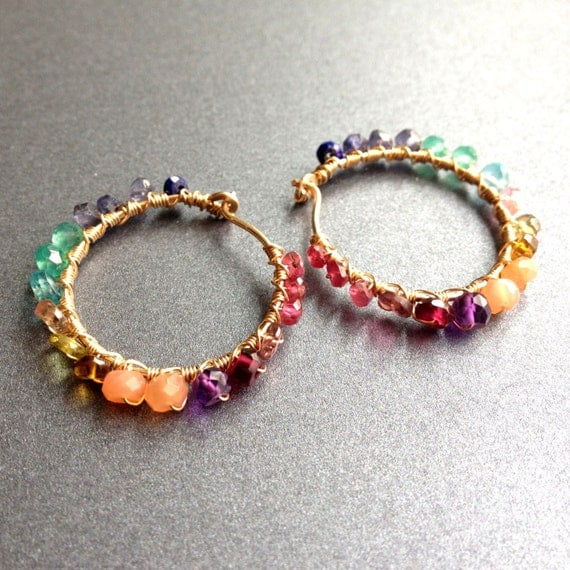 gold gemstone hoops, small size