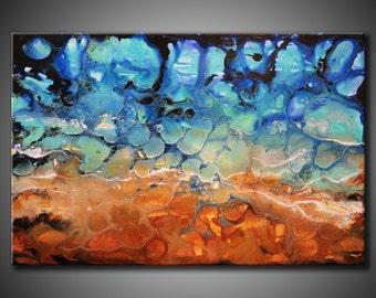 Original Ocean Sea Shore Abstract Painting Textured 24x36 Acrylic Blue Aqua Sand Brown Fine Art by Federico Farias